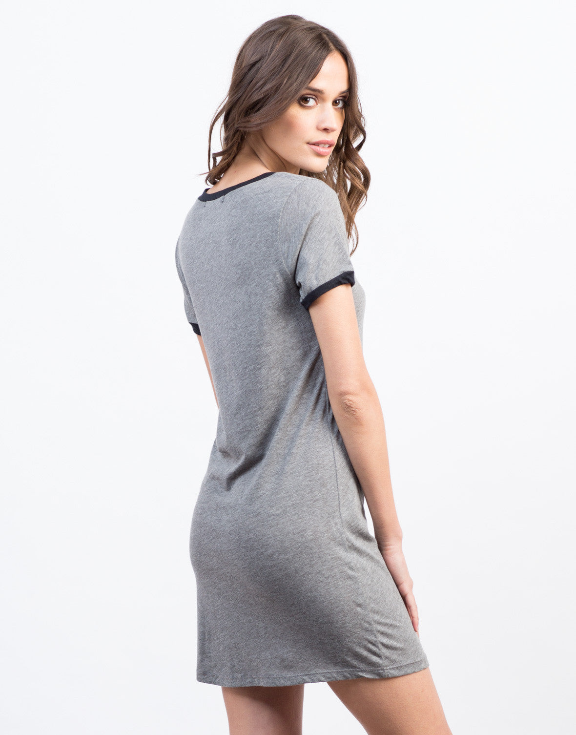 Back View of Round Neck Simple Tee Dress