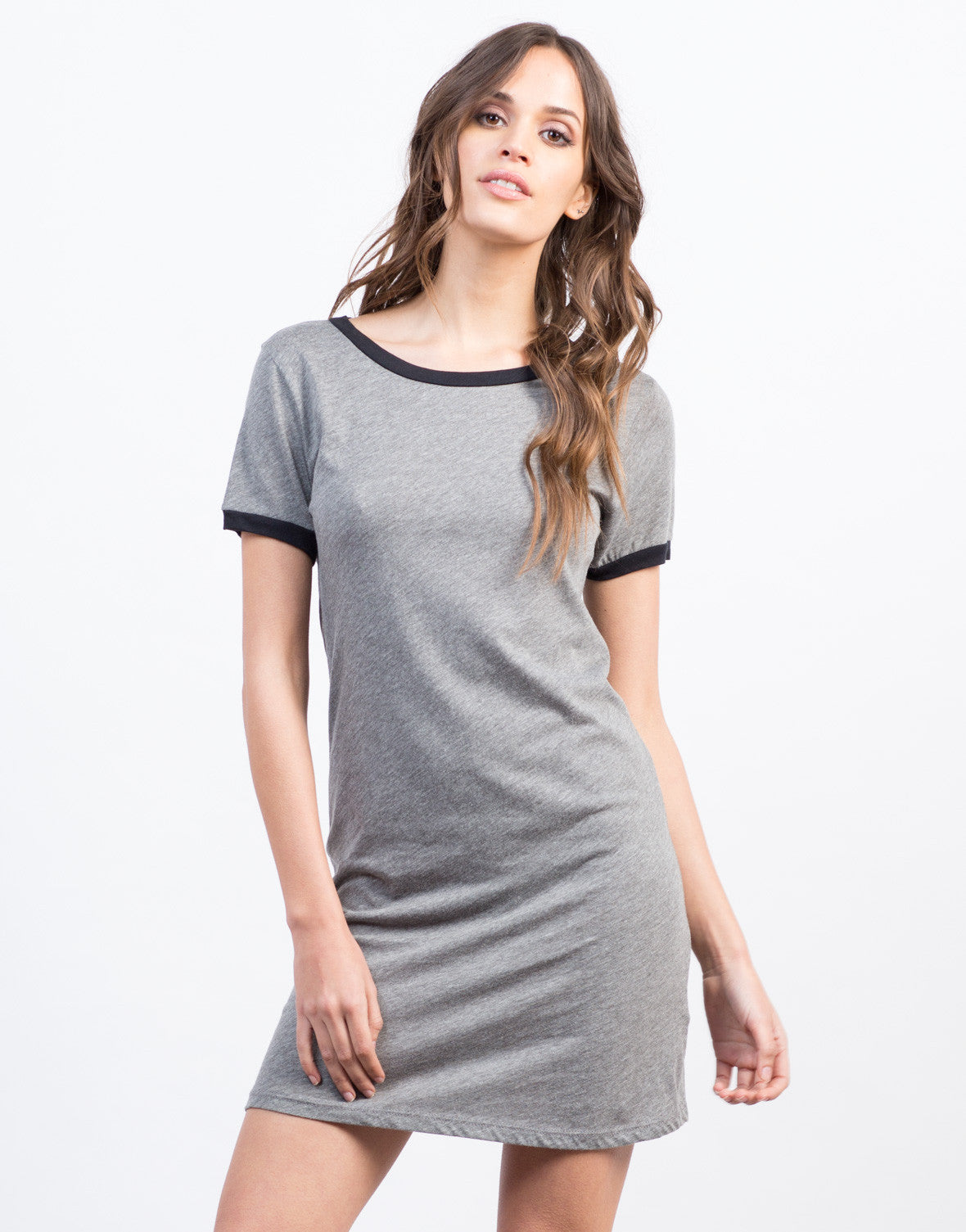 Front View of Round Neck Simple Tee Dress
