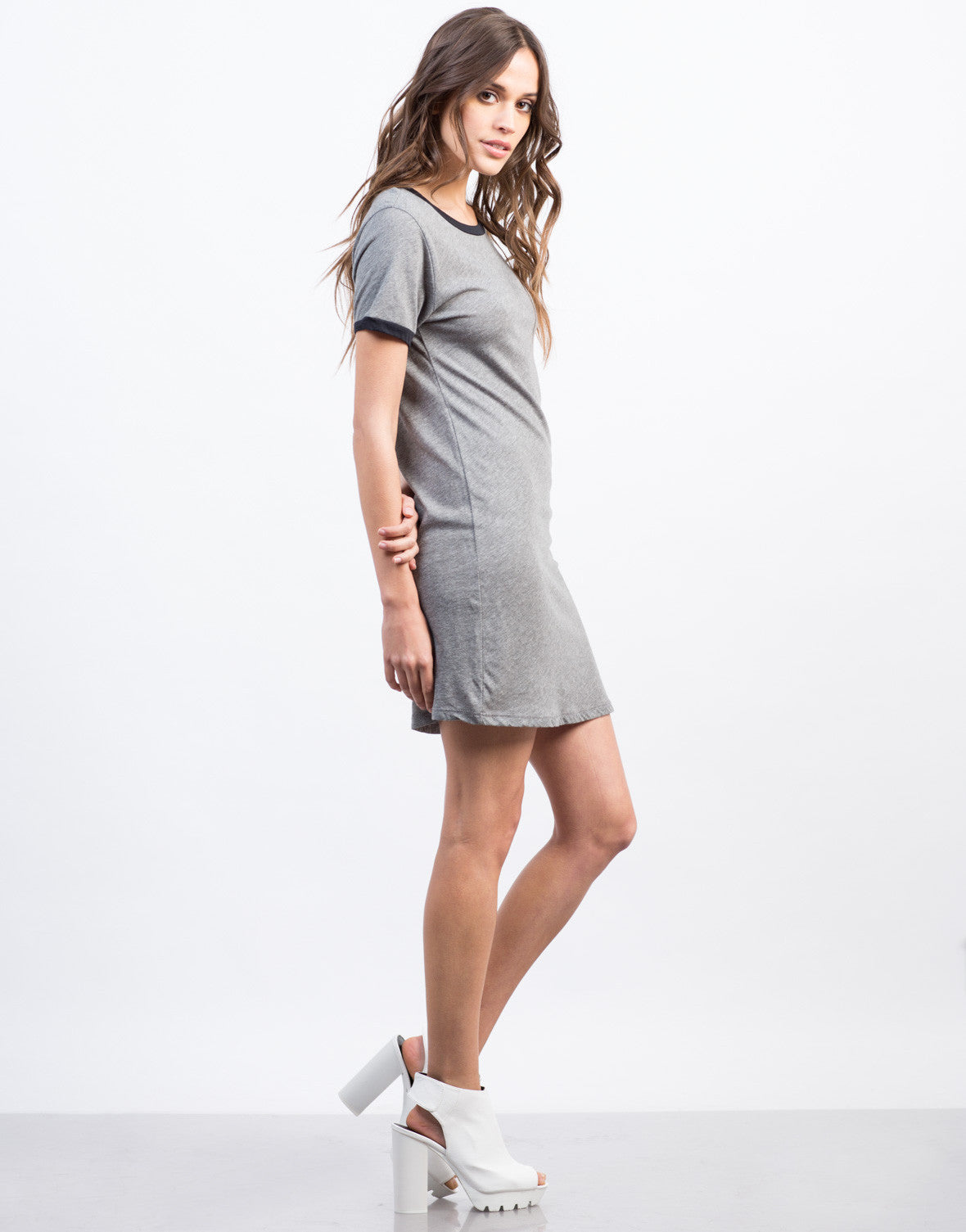 Side View of Round Neck Simple Tee Dress