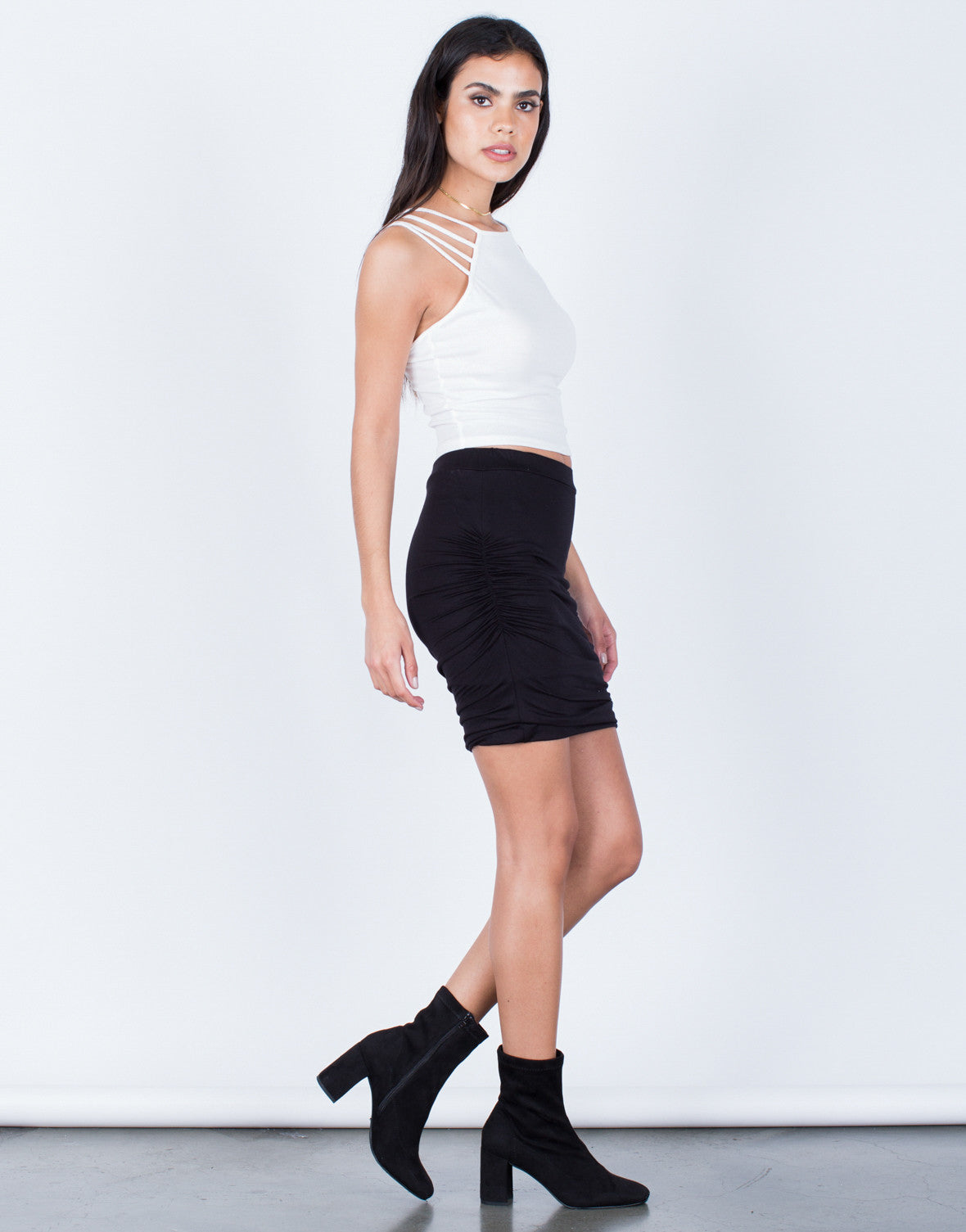 Side View of Ruched Knit Skirt