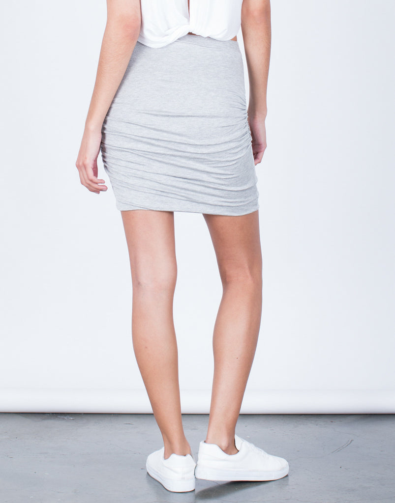 Back View of Ruched Knit Skirt