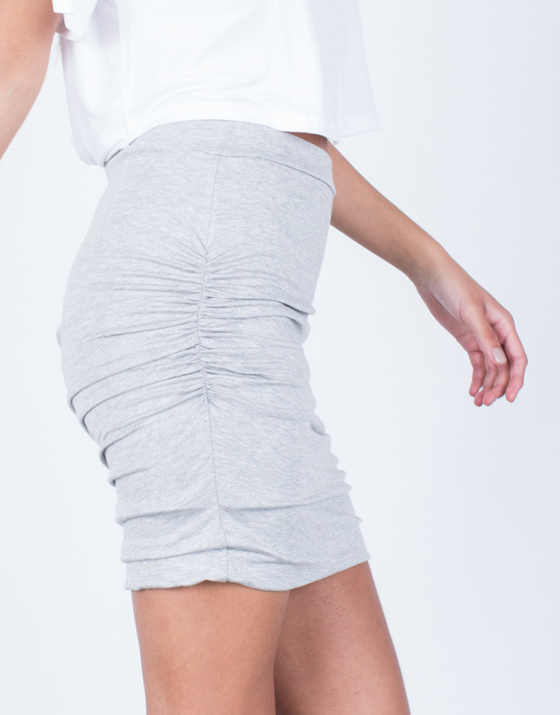 Detail of Ruched Knit Skirt