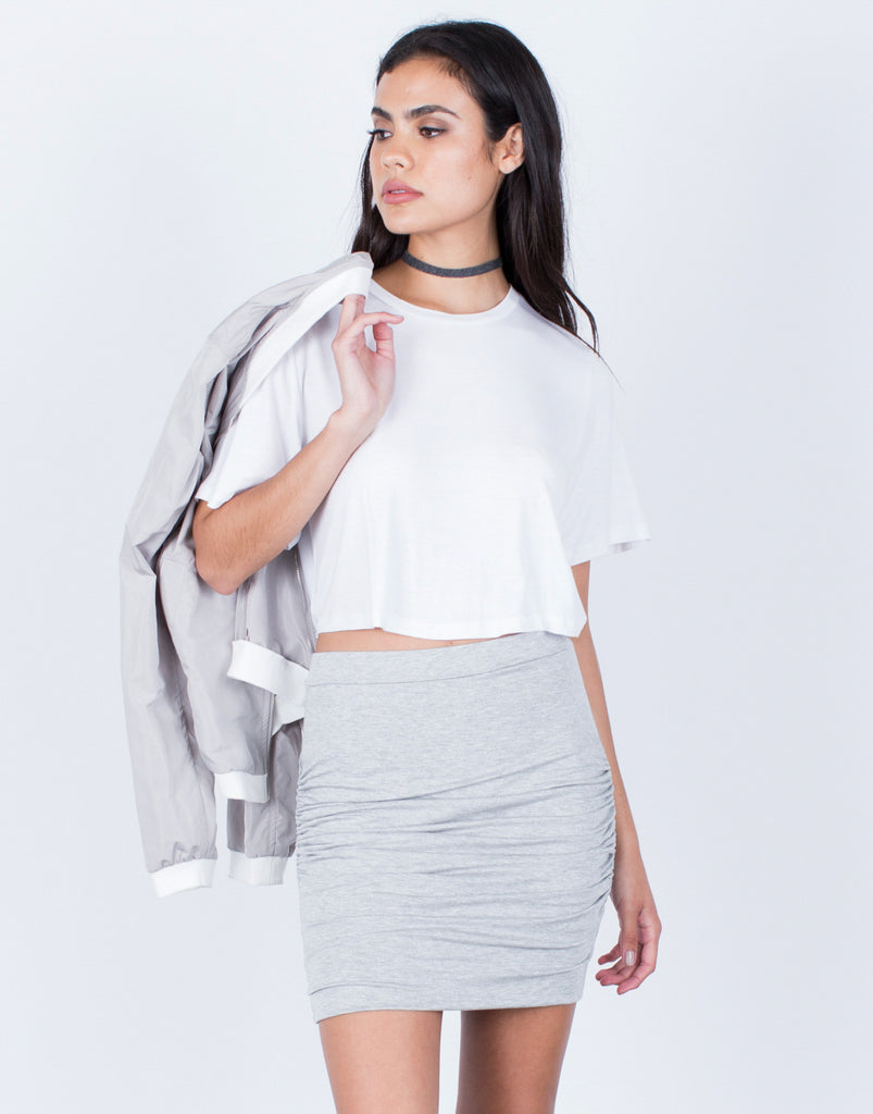 Front View of Ruched Knit Skirt