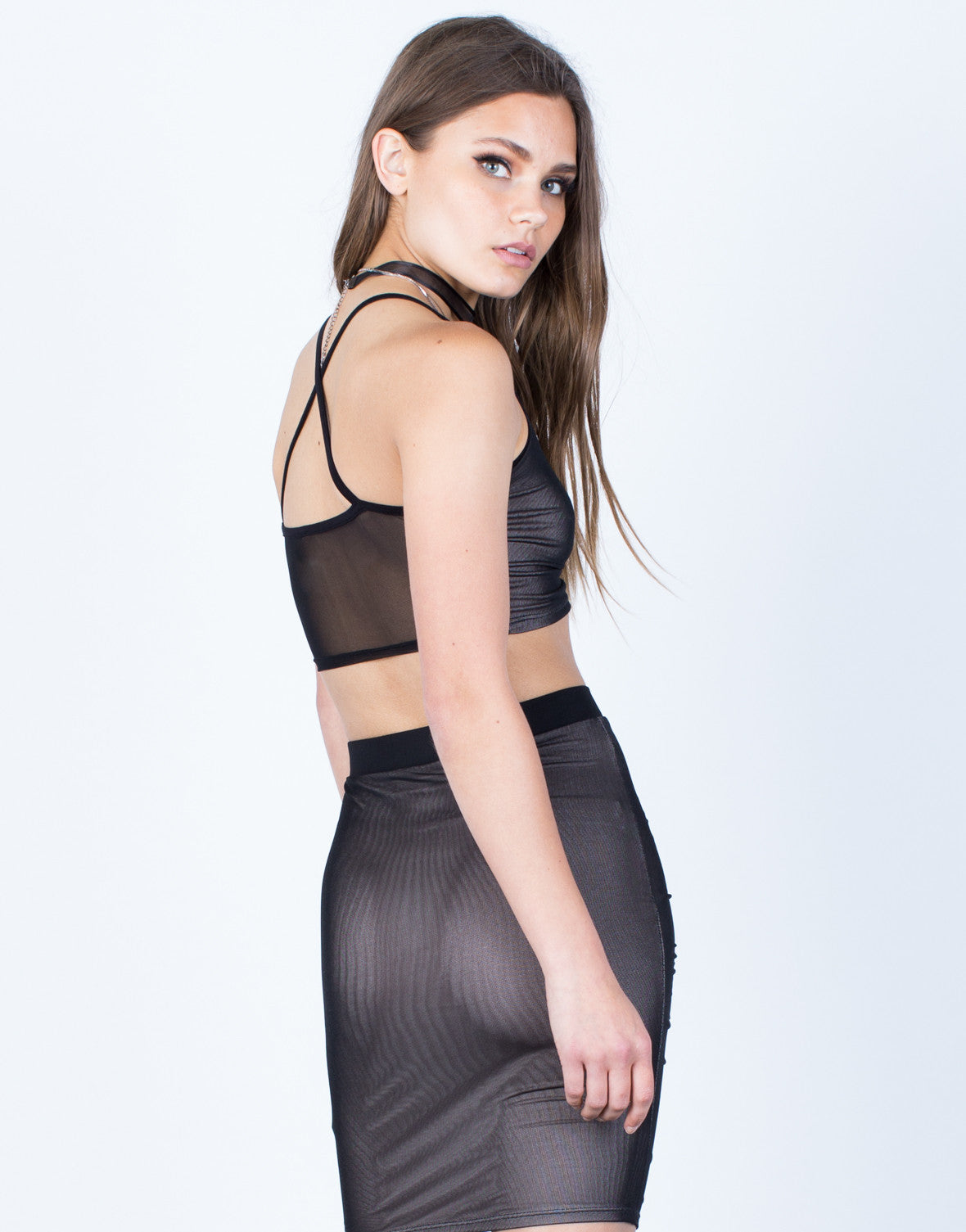 Back View of Ruched Mesh Crop Top