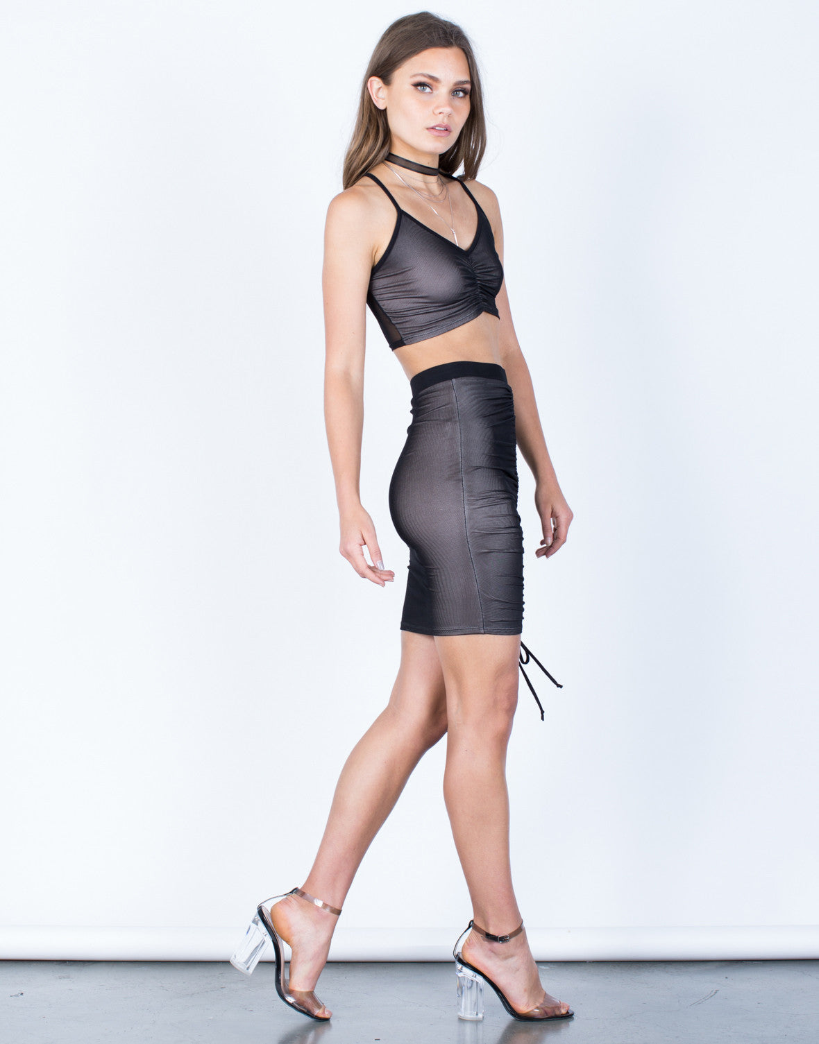 Side View of Ruched Mesh Crop Top