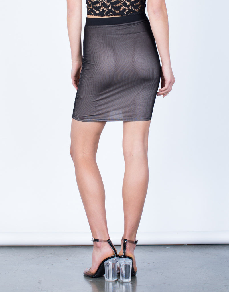 Back View of Ruched Mesh Skirt