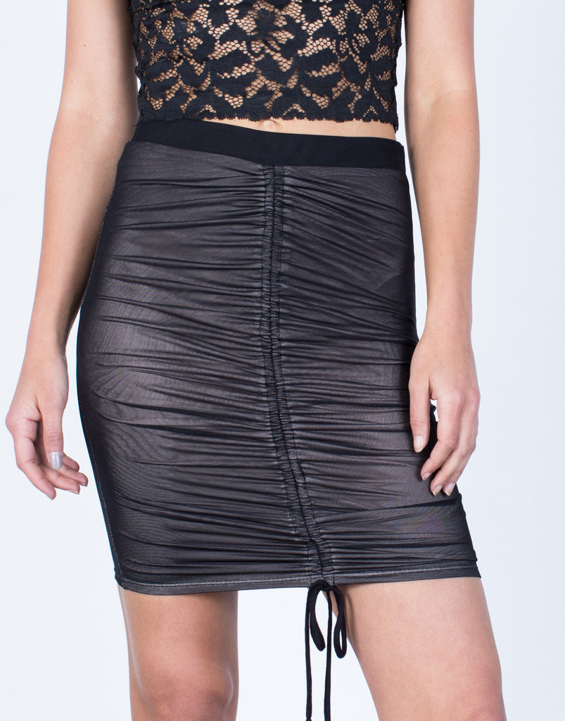 Detail of Ruched Mesh Skirt