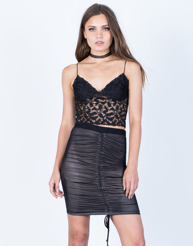 Front View of Ruched Mesh Skirt