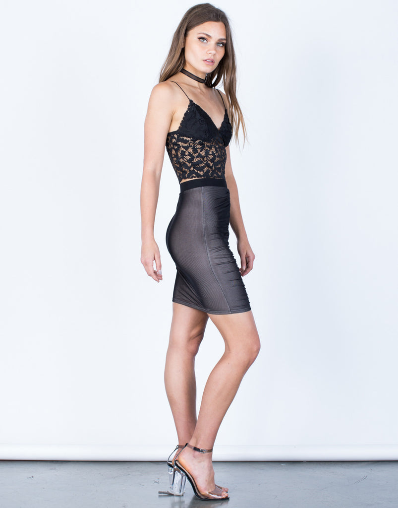 Side View of Ruched Mesh Skirt