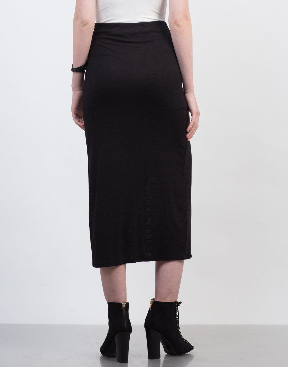 Back View of Ruched Overlapping Midi Skirt