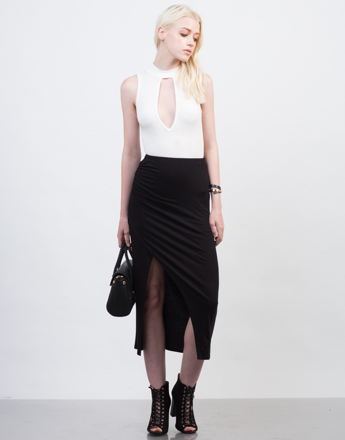 Front View of Ruched Overlapping Midi Skirt