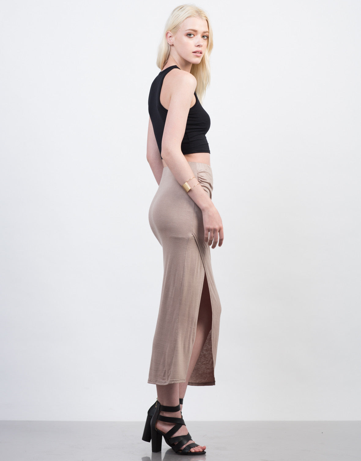 Side View of Ruched Overlapping Midi Skirt