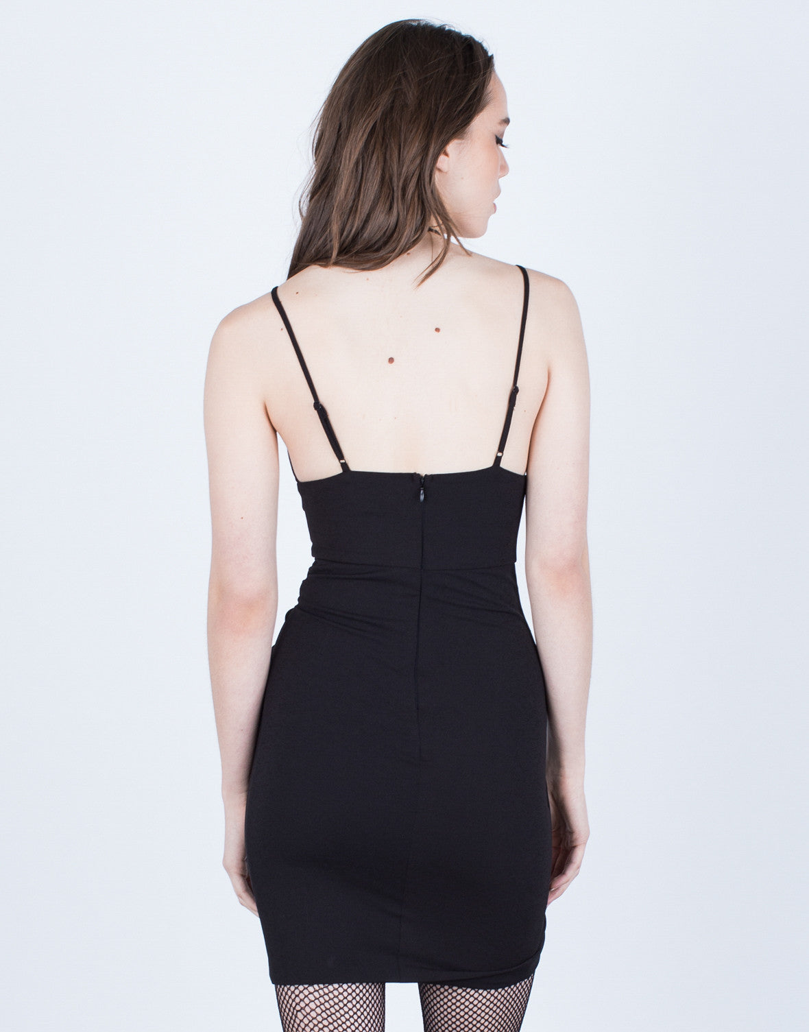 Back View of Ruched Party Dress