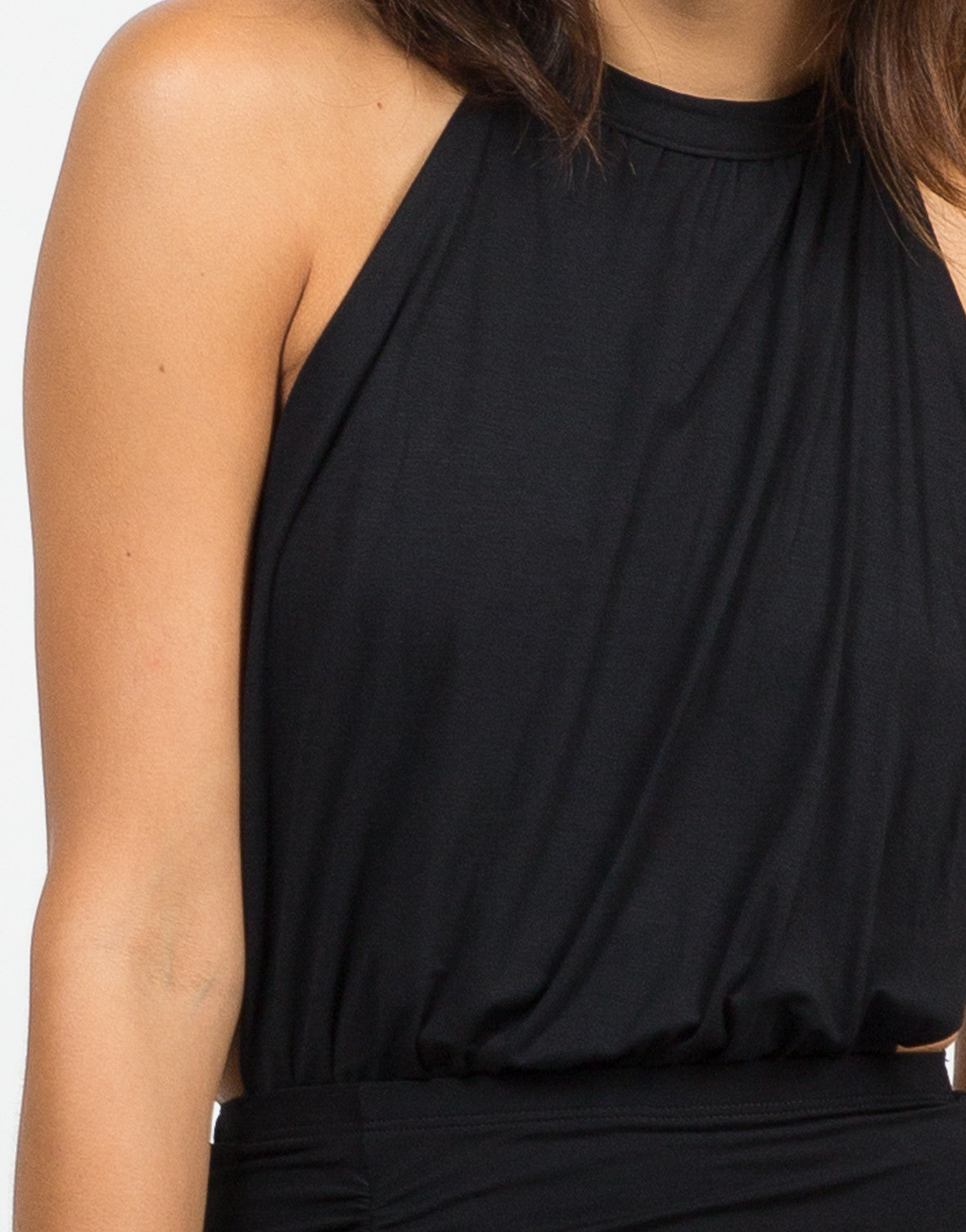 Detail of Ruched Halter Dress