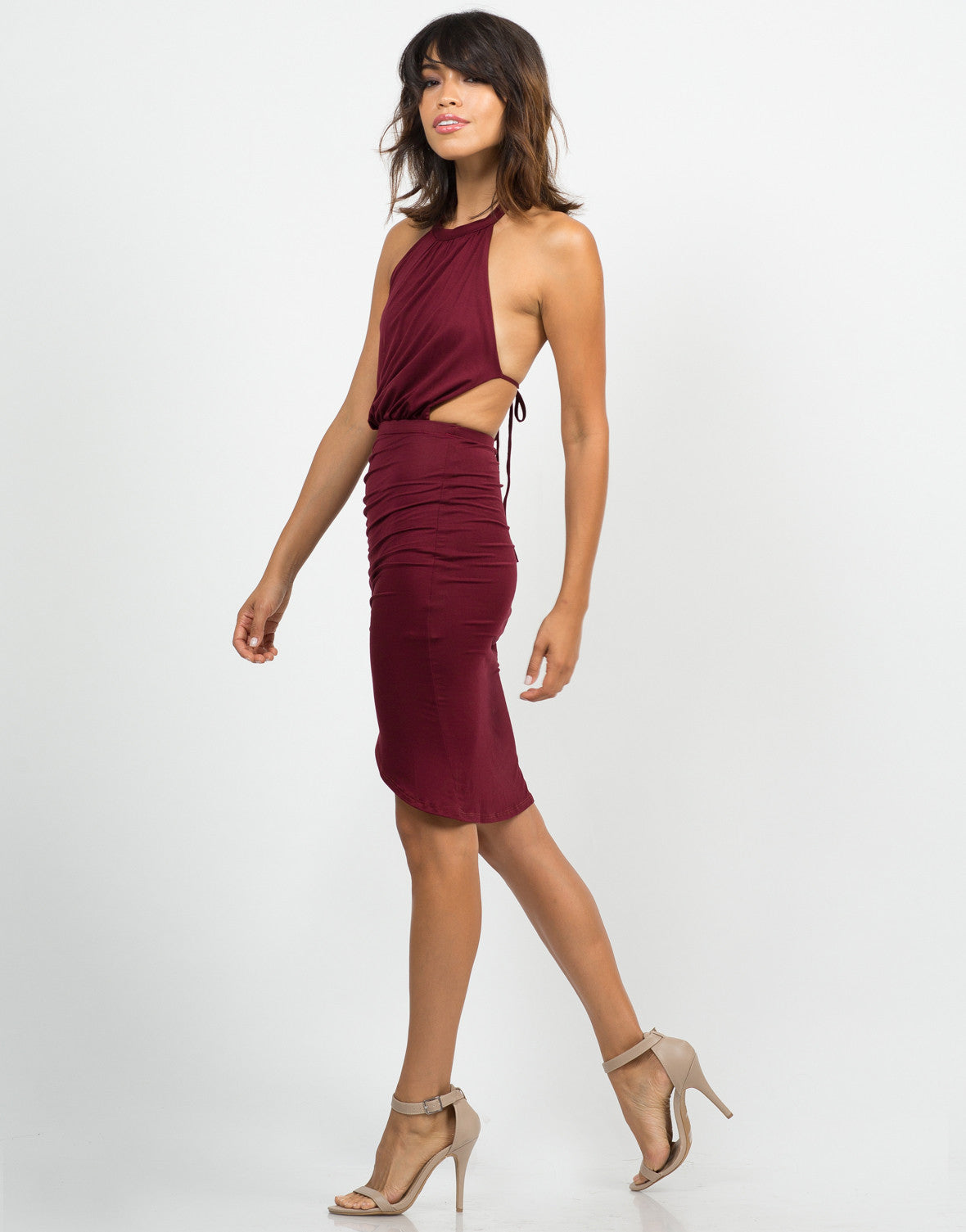 Side View of Ruched Halter Dress