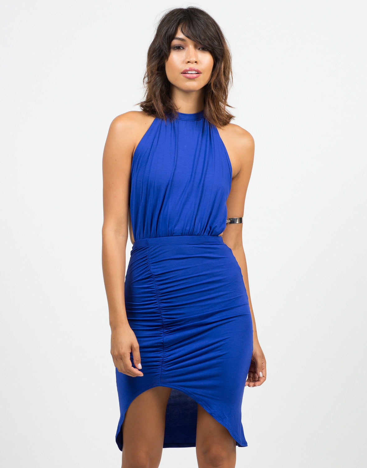 Front View of Ruched Halter Dress