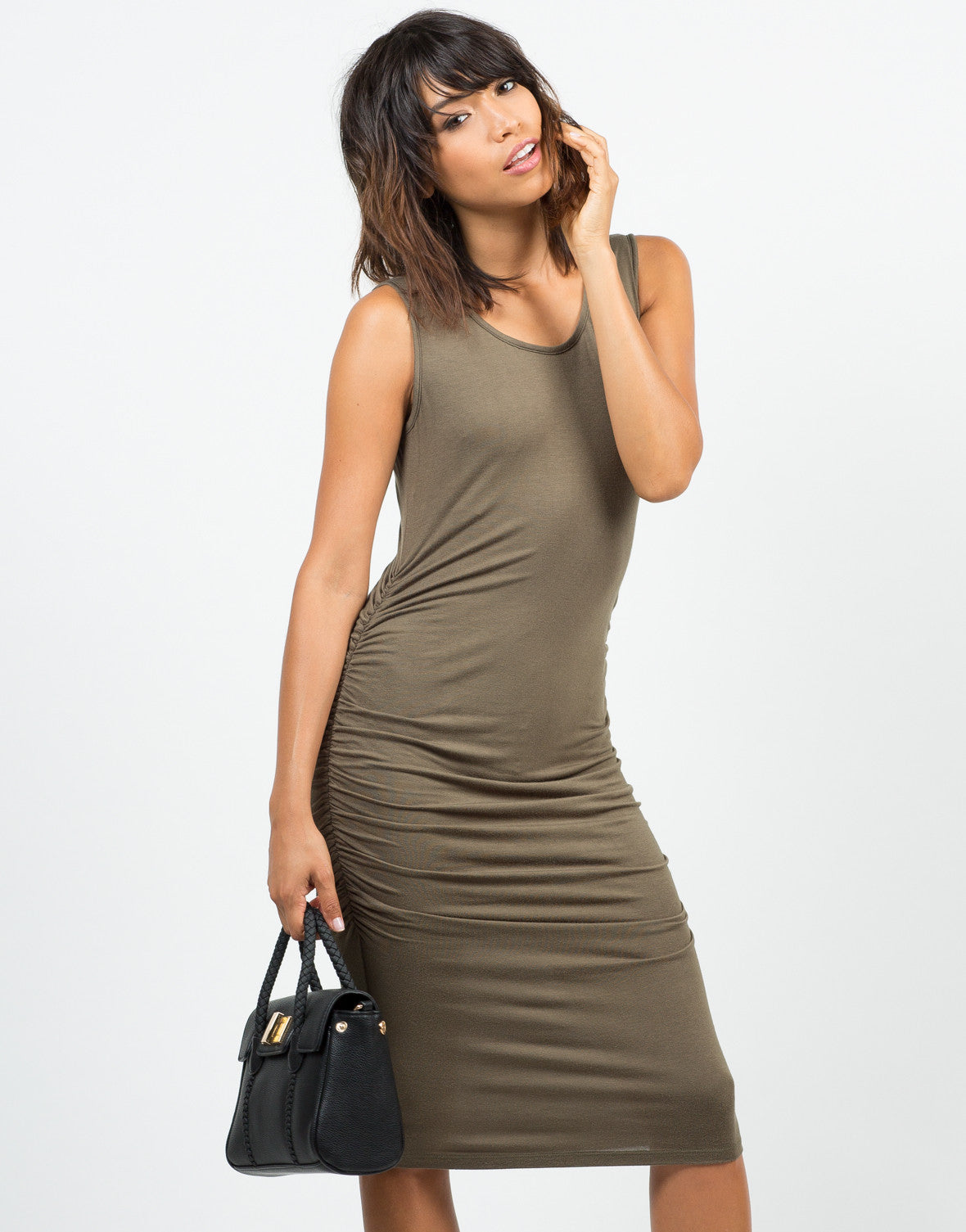 Front View of Ruched Tank Dress