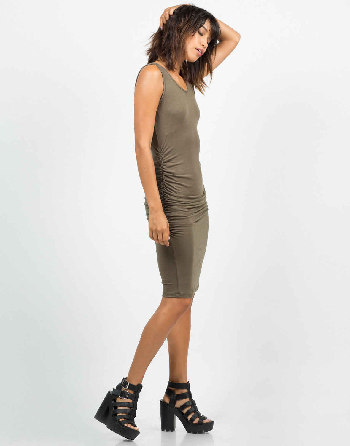 Side View of Ruched Tank Dress