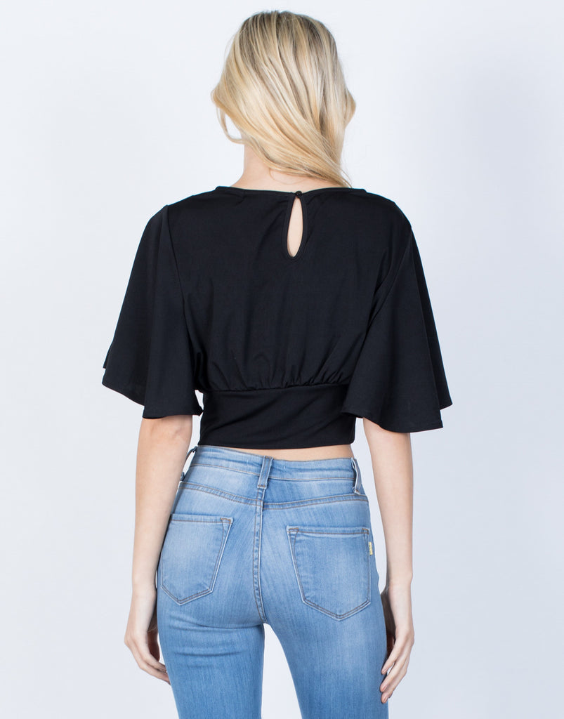 Back View of Ruffle Around Crop Top