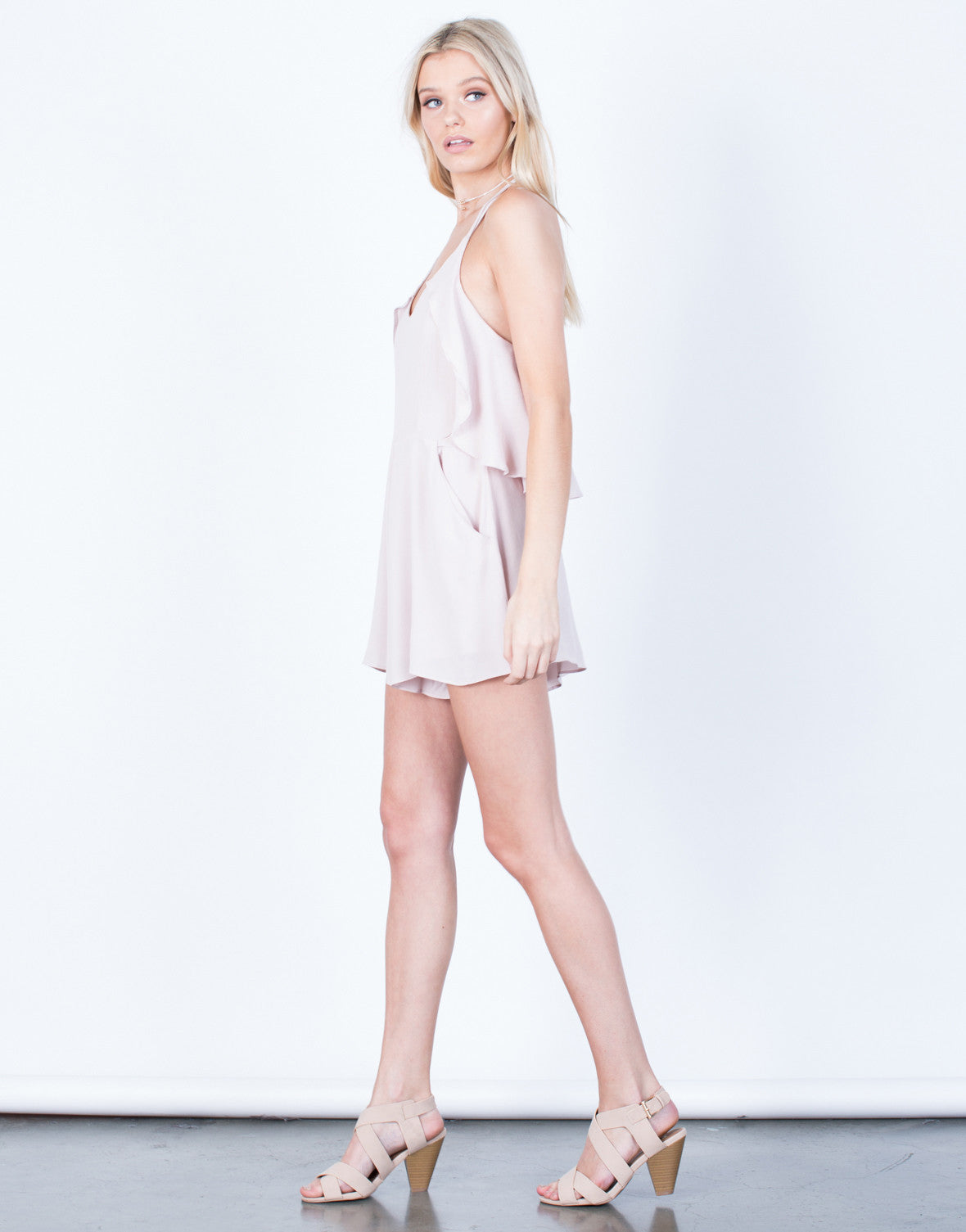 Side View of Ruffle Around Me Romper