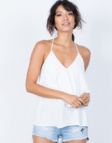 White Ruffle Down Cami Tank - Front View