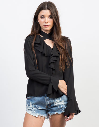 Front View of Ruffle Me Up Blouse