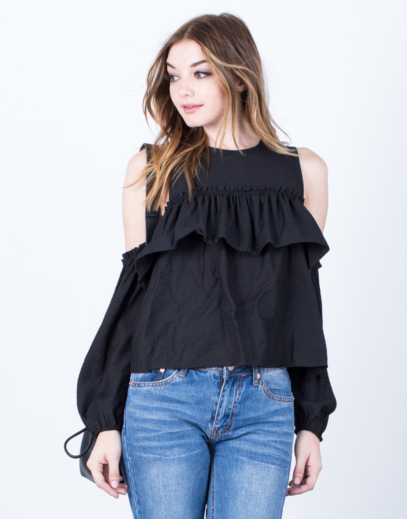 Ruffle Me Up Cold Shoulder Blouse - 2020AVE