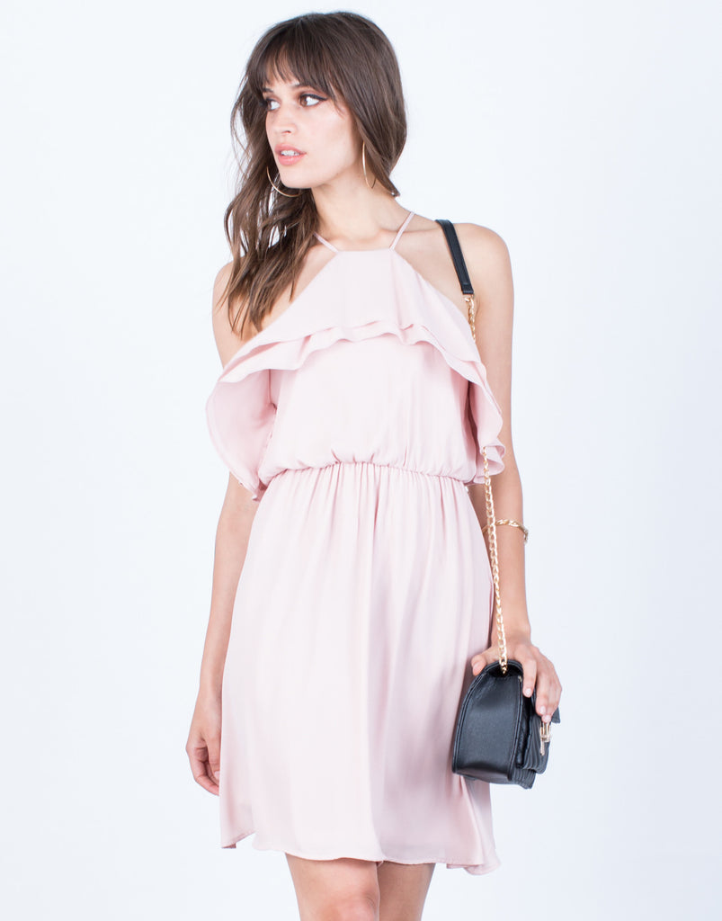 Front View of Ruffled Chiffon Dress