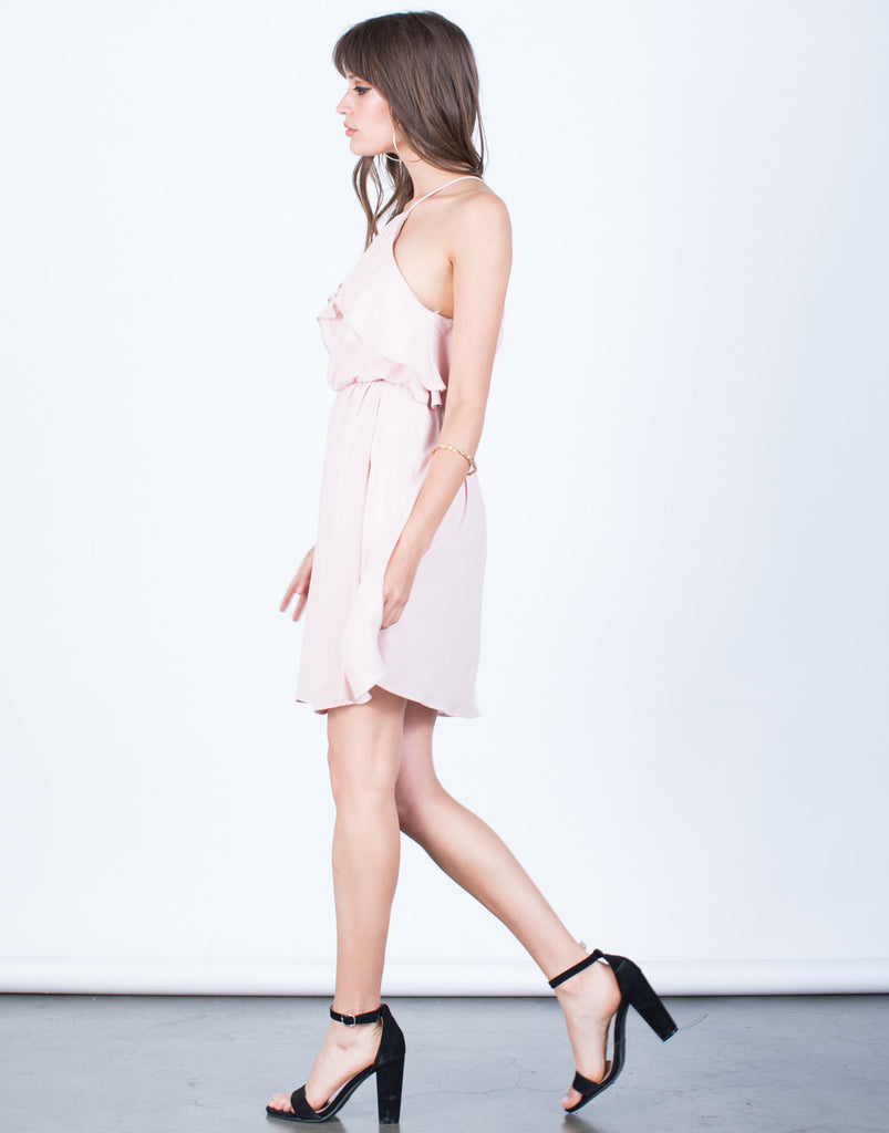 Side View of Ruffled Chiffon Dress