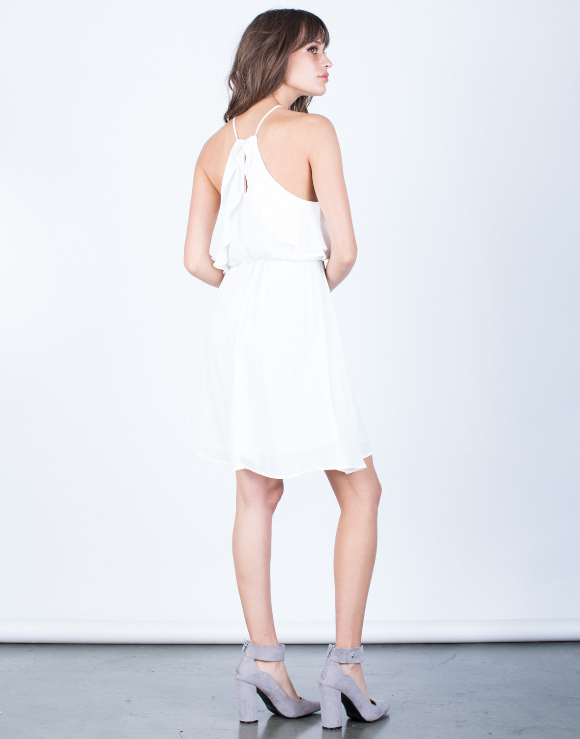 Back View of Ruffled Chiffon Dress