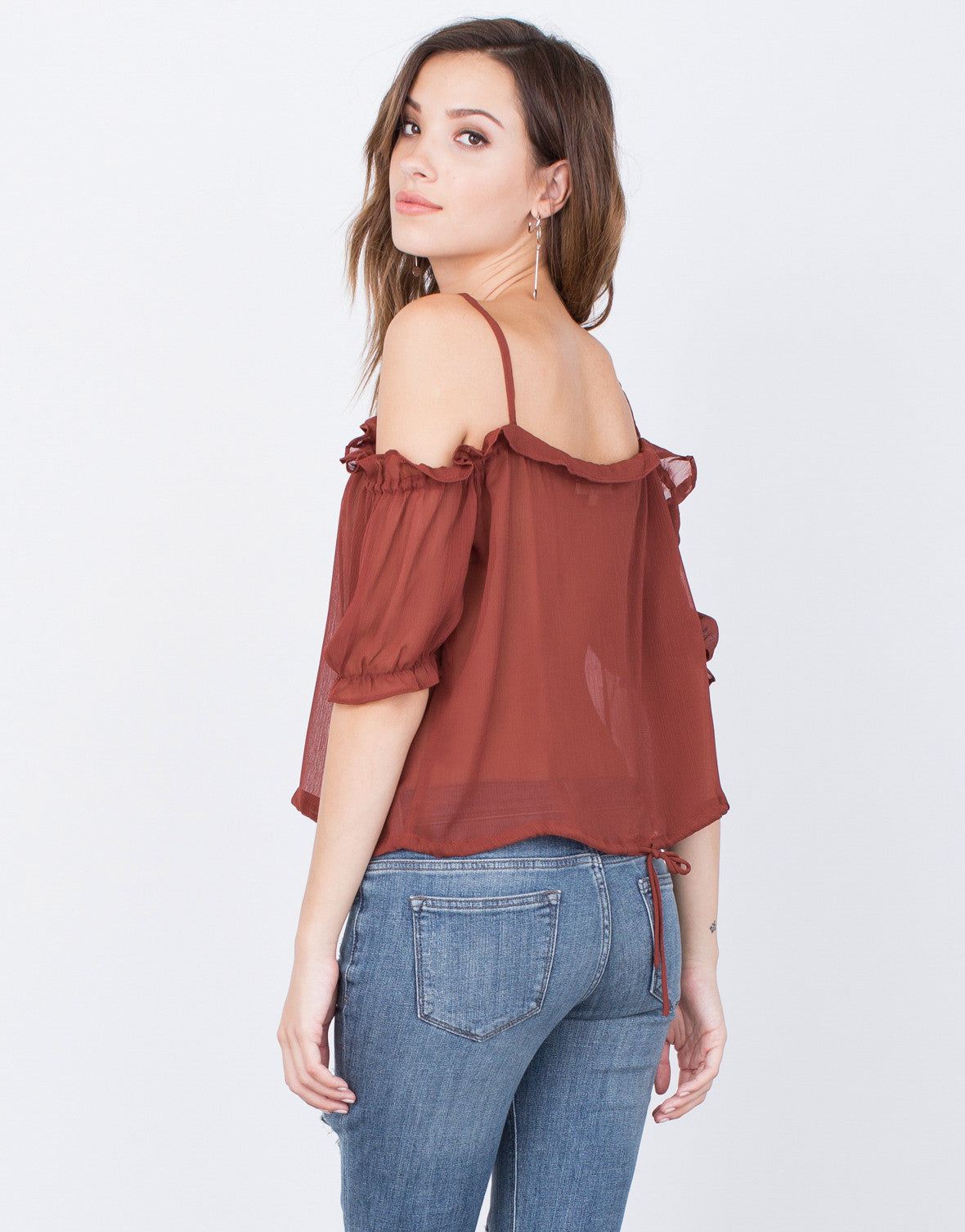 Back View of Ruffled Cold Shoulder Top