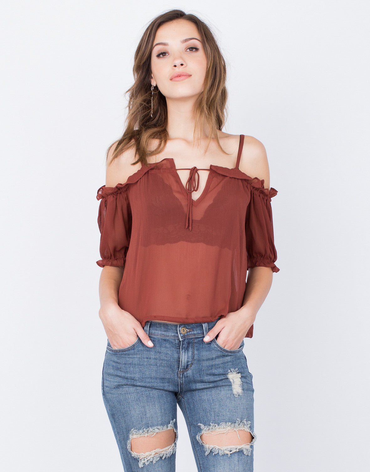 Front View of Ruffled Cold Shoulder Top