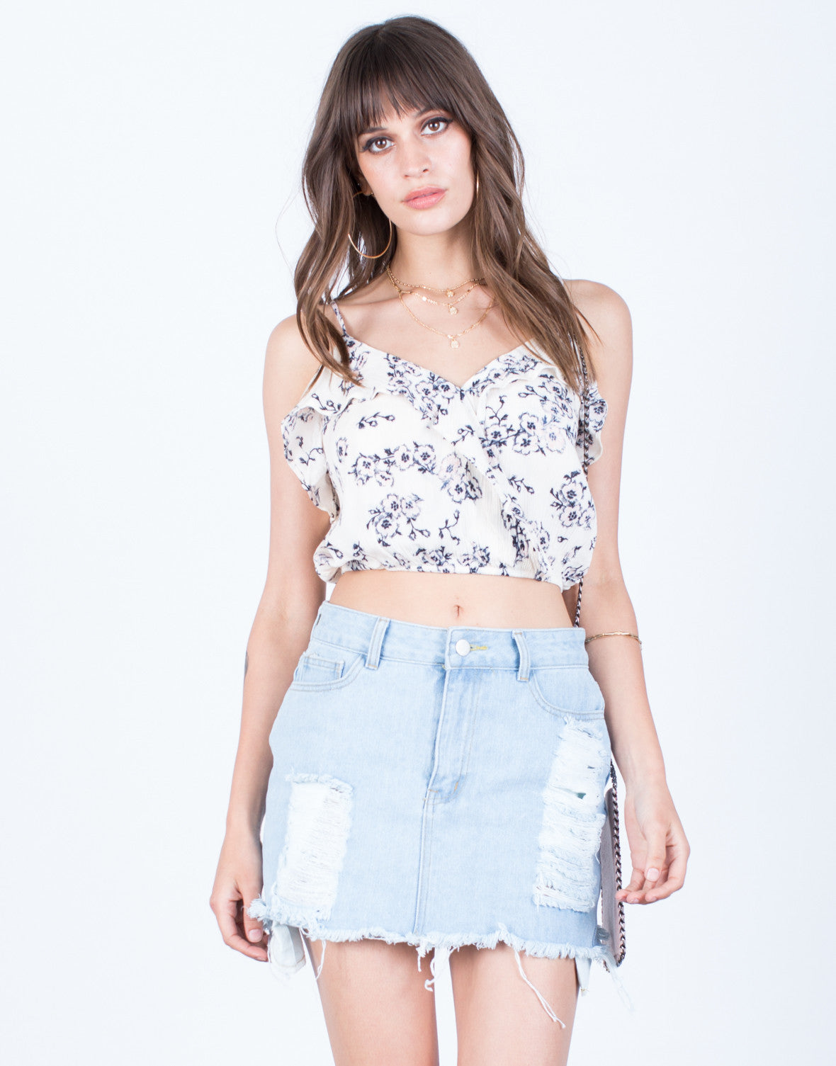Front View of Ruffled Crop Top
