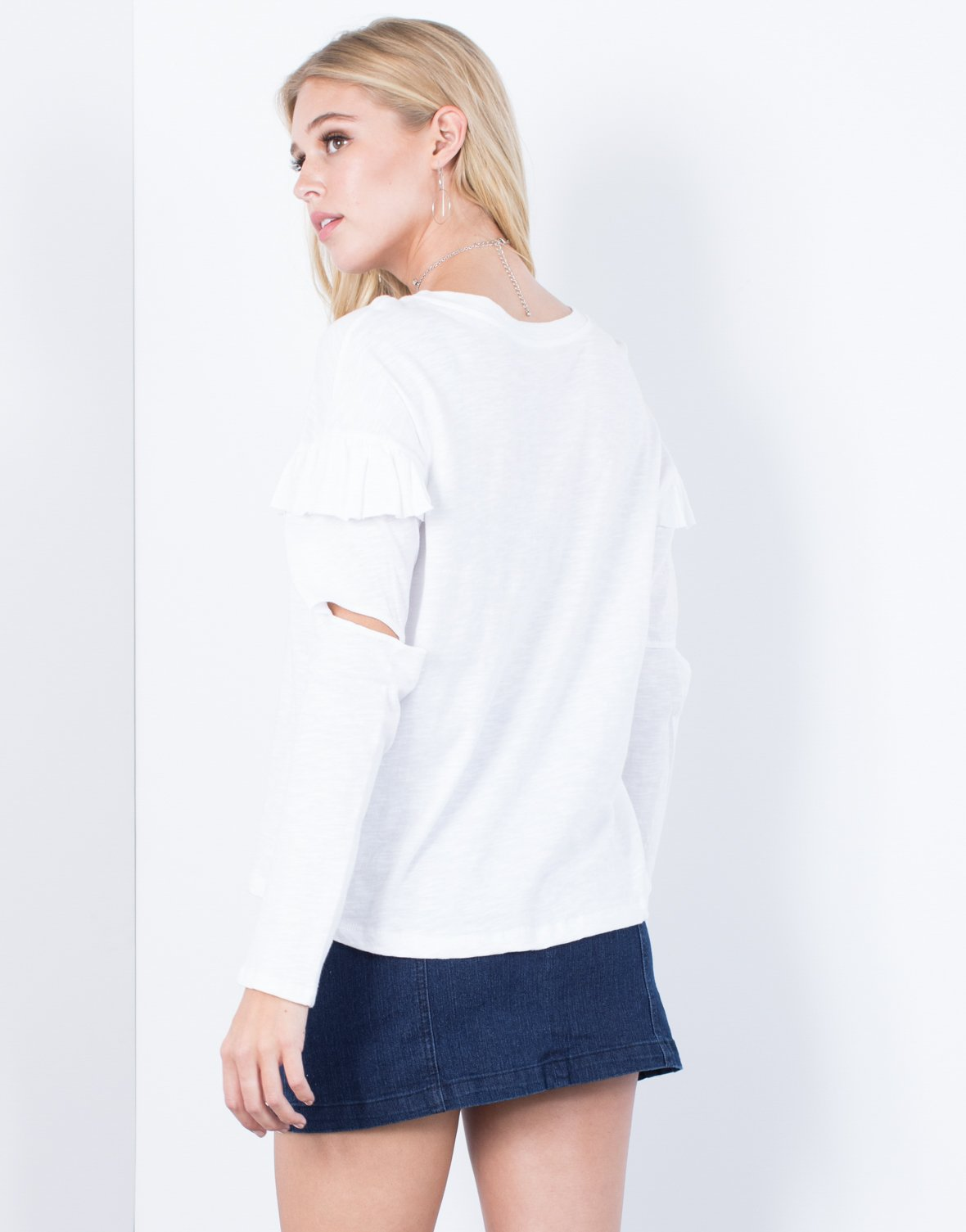 Ruffled Cut Out Top - 2020AVE