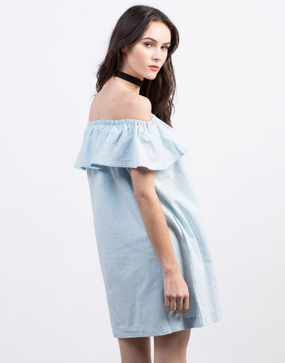 Back View of Ruffled Denim Dress