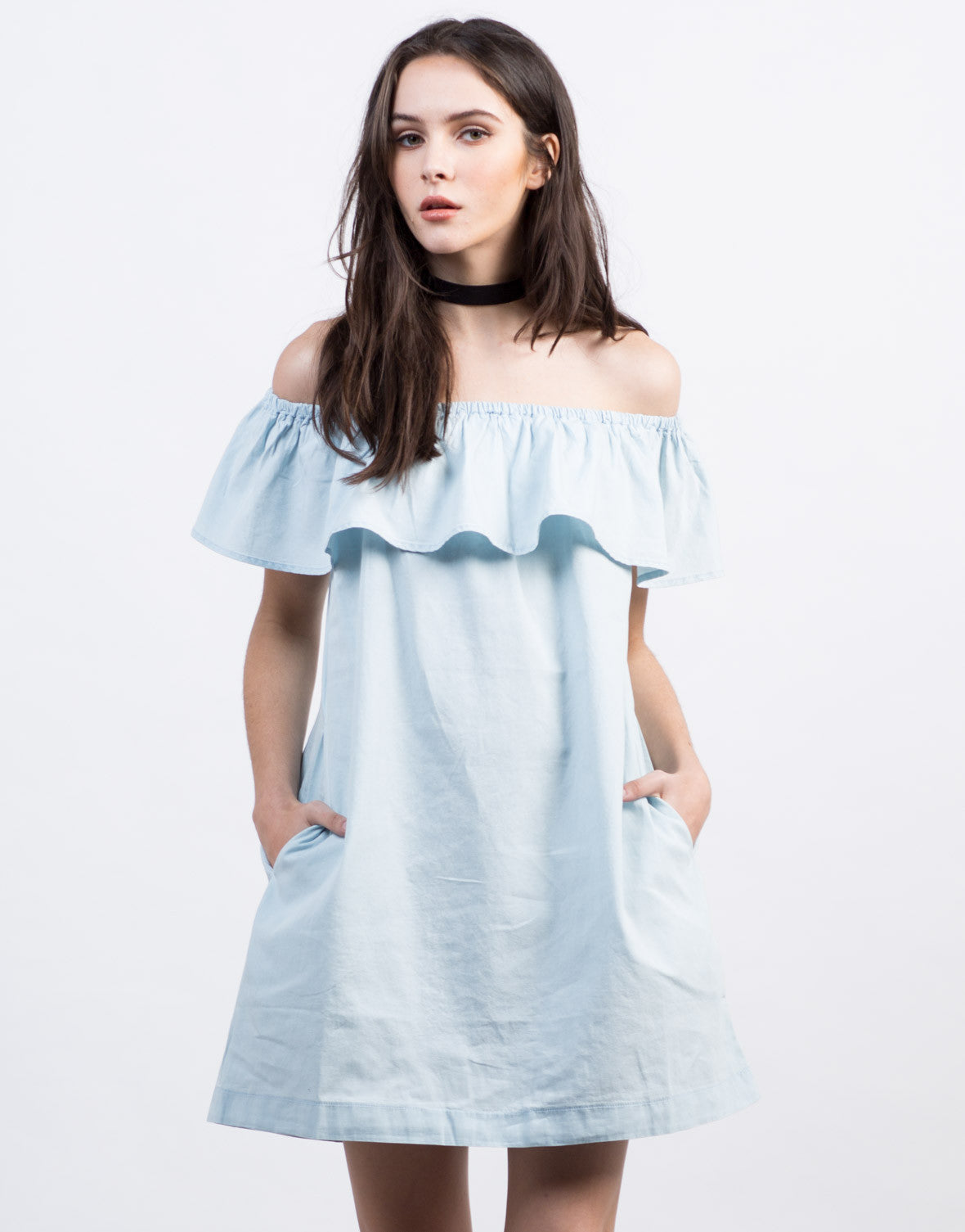 Front View of Ruffled Denim Dress