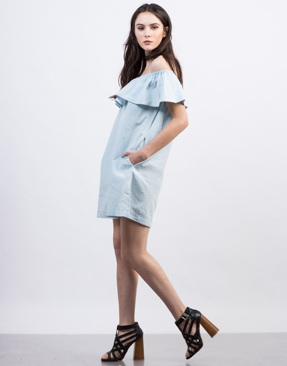 Side View of Ruffled Denim Dress