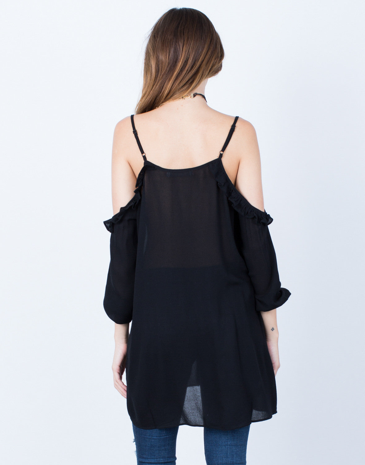 Back View of Ruffled Knit Cold Shoulder Top