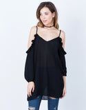 Front View of Ruffled Knit Cold Shoulder Top