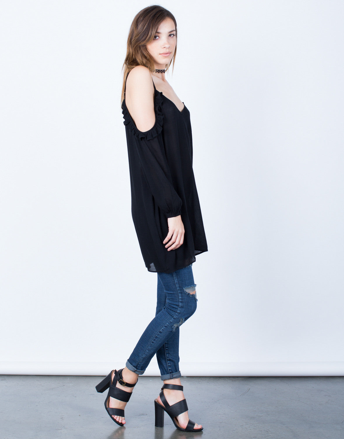 Side View of Ruffled Knit Cold Shoulder Top