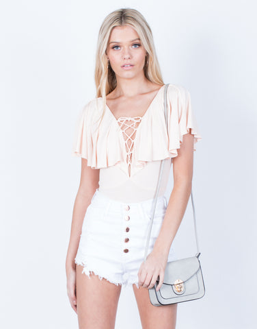Front View of Ruffled Lace-Up Bodysuit