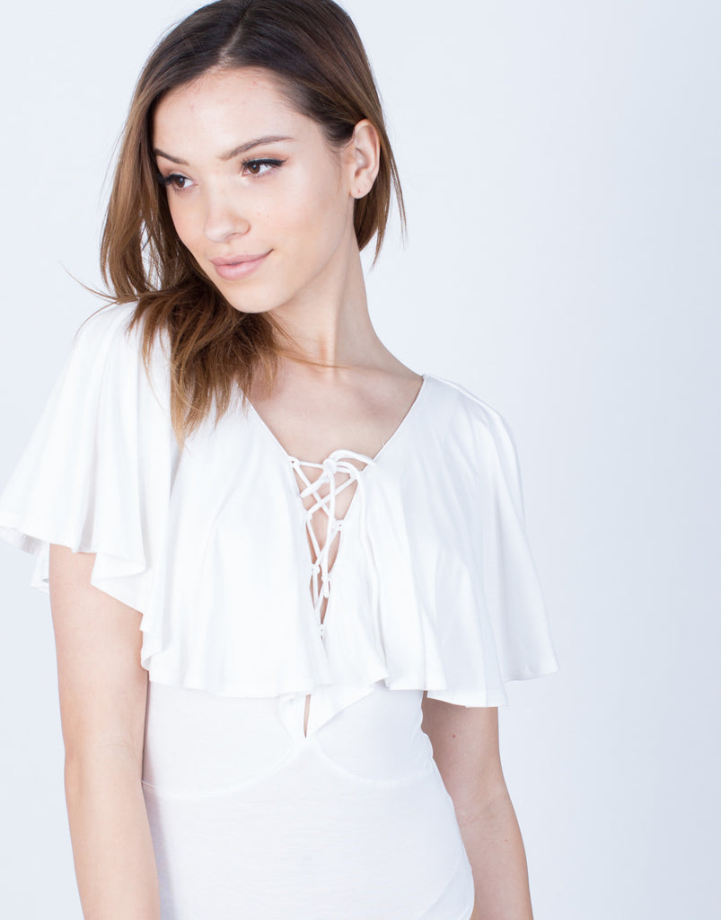 Detail of Ruffled Lace-Up Bodysuit