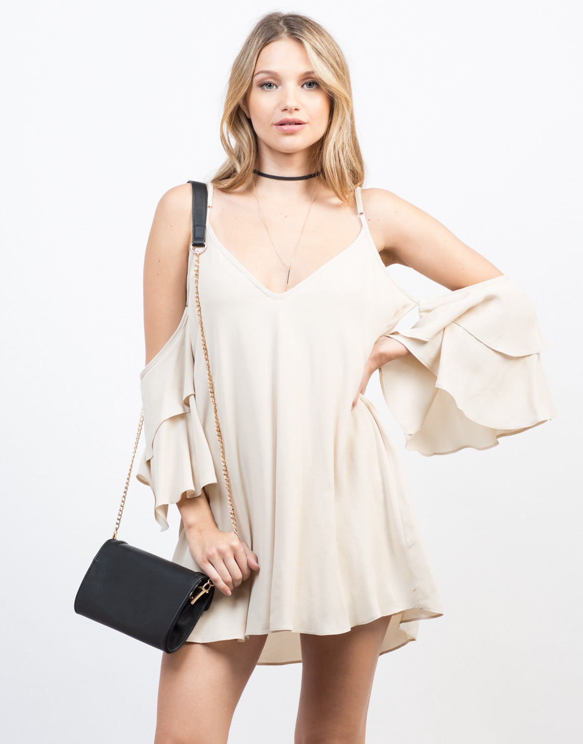 Front View of Ruffled Sleeves Vacay Dress