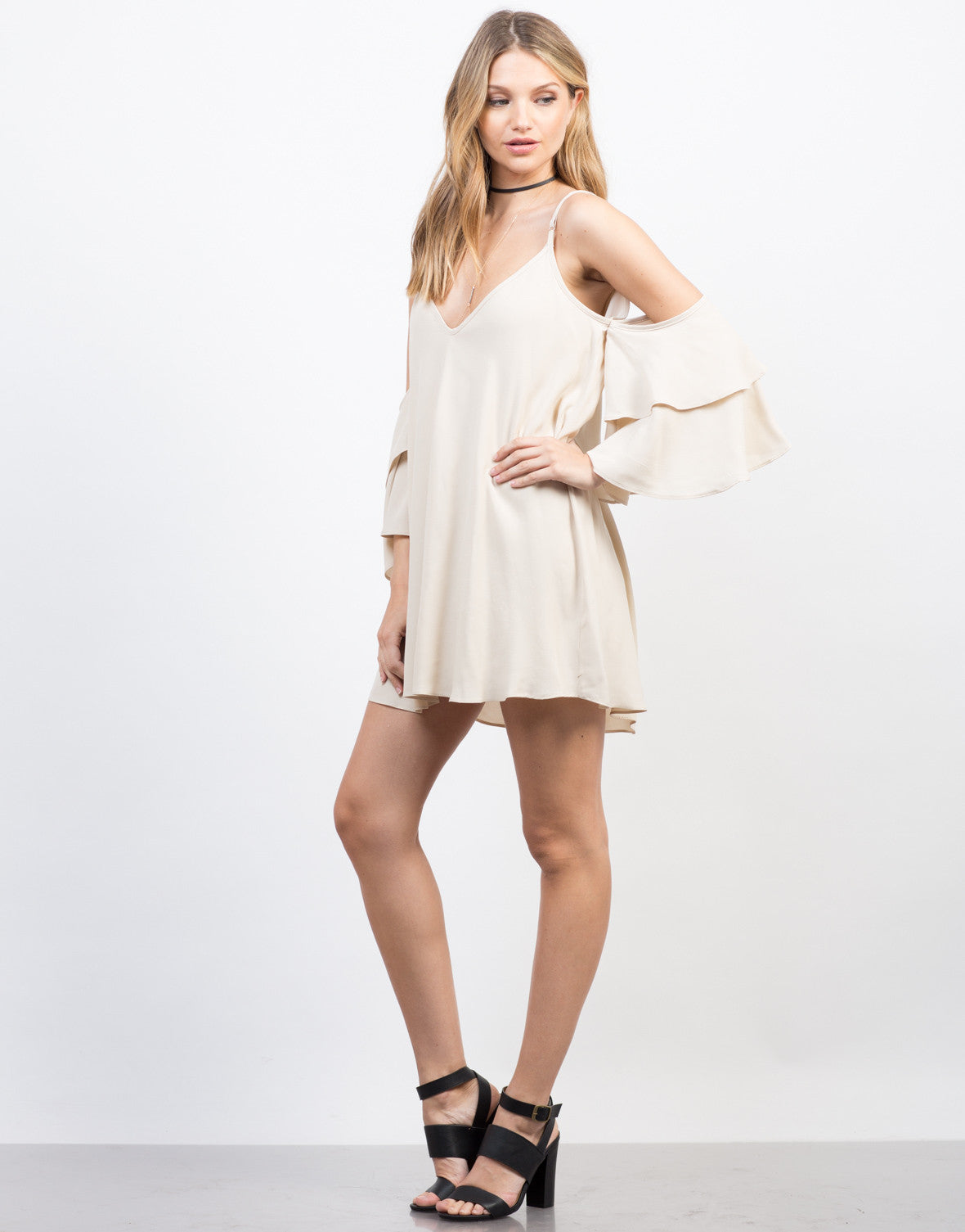 Side View of Ruffled Sleeves Vacay Dress