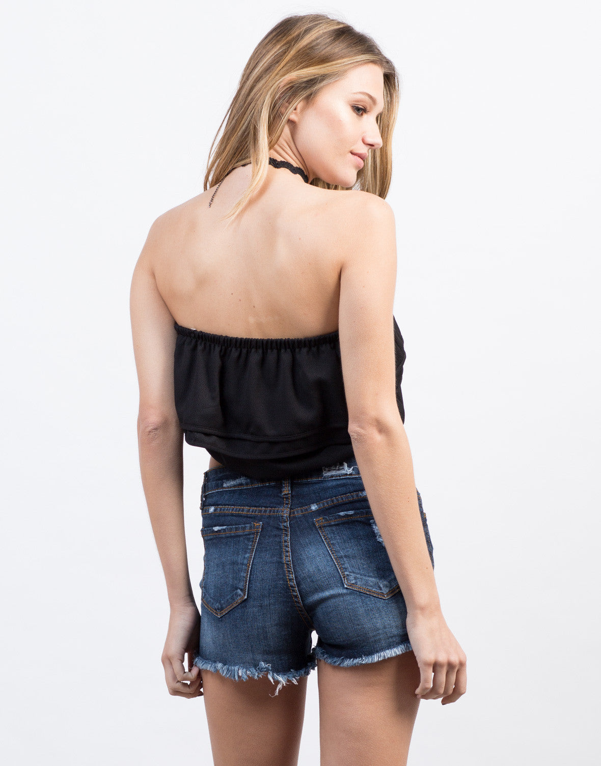 Back View of Ruffled Strapless Cropped Top
