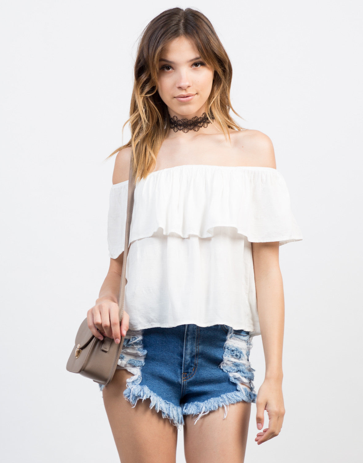 Front View of Ruffled Up Off-the-Shoulder Top