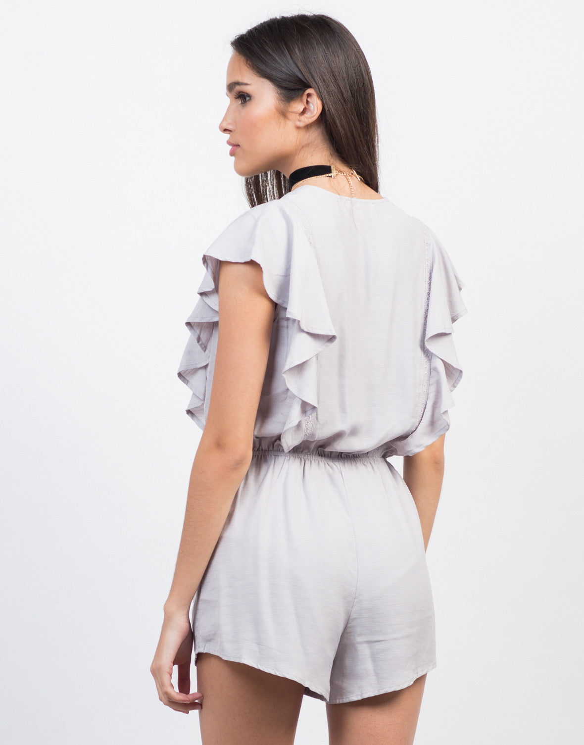 Back View of Ruffled Waist Tie Romper