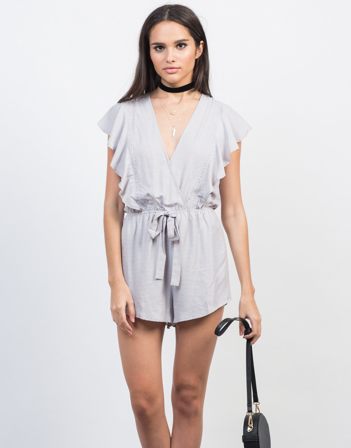 Front View of Ruffled Waist Tie Romper