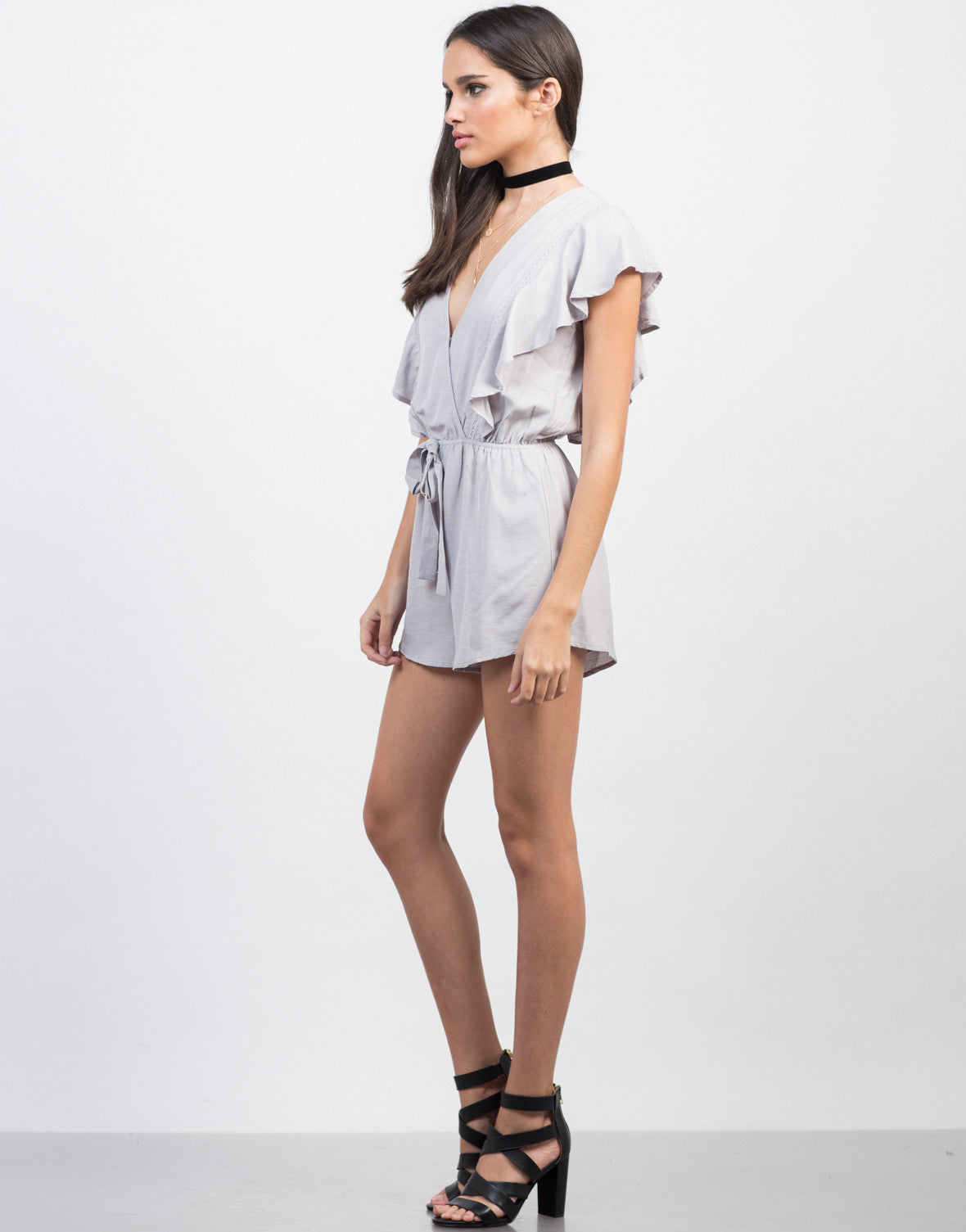 Side View of Ruffled Waist Tie Romper