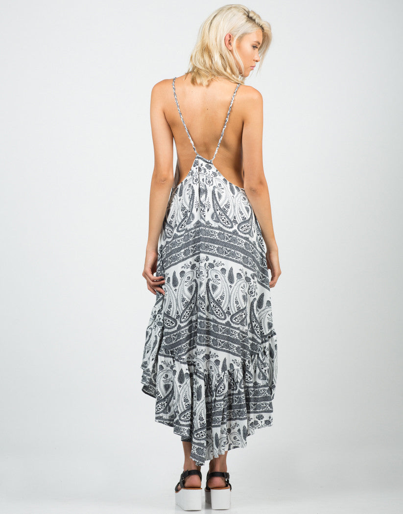 Back View of Ruffled Paisley Dress